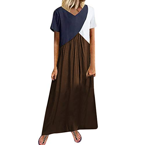 HJuyYuah Women's Short Sleeve Loose Party Long Dress Casual Splicing Dress Coffee
