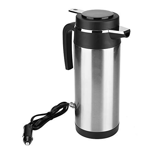 Qiilu Hervidor de Agua de Coche de Acero Inoxidable 1200 ML con 24V Encendedor de Cigarrillos Calefaccion Taza para Te, cafe y Agua hirviendo en Coche Viaje