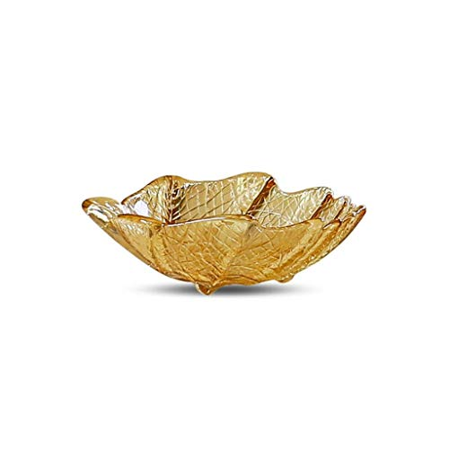 Glass Fruit Bowl, Snack Salad Bowl Snack Bowl Dried Fruit Dish, Leaf-shaped Creative Living Room European-style Glass Gold Bowl (size: 20.5x6.5CM) (Color : B)