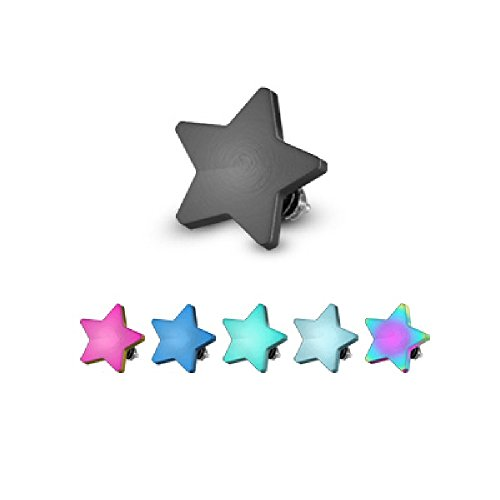 Set of 7 Internally Threaded Flat Star Dermal Anchor Tops in 316L Surgical Steel