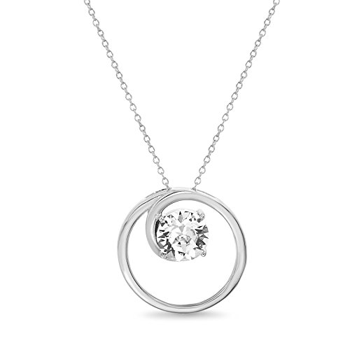 Devin Rose Sterling Silver Open Circle Pendant Necklace for Women made with Swarovski Crystals