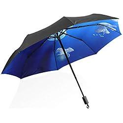 Mr.Lucien Ocean Life Jellyfish Blue Sea Aquarium Animal Photo Folding Umbrella Rain and Sun Windproof Strong UV Protection Decorating Umbrella 202757