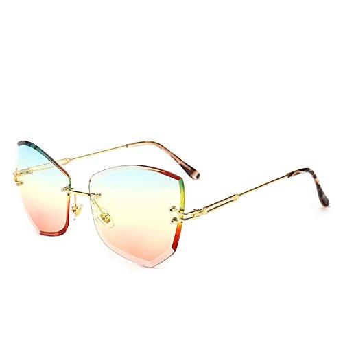 Gato Sunnies Transparente Amarillo Femeninos Pynxn Irregular Gris Tonos Gafas de Azul los rebordes Sol Poligonal de Mujeres de Ojos Oculos sin Claro Color vidrios Rosa OwHw5g