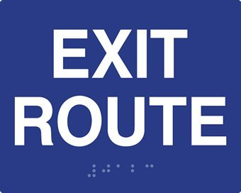 ADA Compliant Exit Route Signs with Raised Text and Grade 2 Braille - 5x4