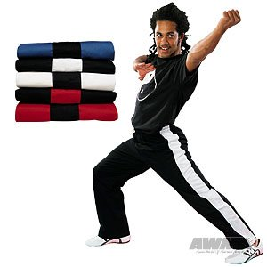 ProForce Gladiator 8oz Demo Karate Pants - Black w/Red Stripe - Size 2