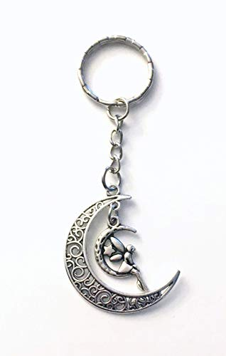 SALE Fairy Moon Key Chain, Crescent Moon Keychain, Silver Keyring, Gift for Teenage Girl Daughter -