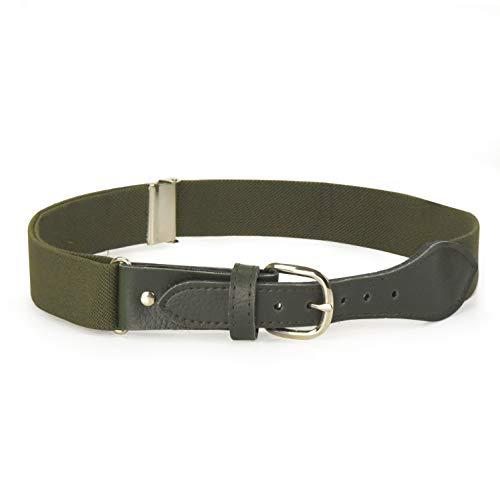 (Kids Elastic Adjustable Belt with Leather Closure - Olive)