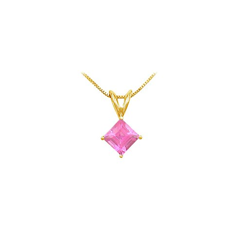 (September Birthstone Created Pink Sapphire Square Pendant in Gold Vermeil on)