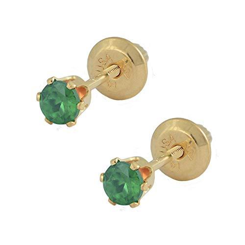 14K Yellow Gold Genuine Emerald Girls Stud Earrings - May Birthstone