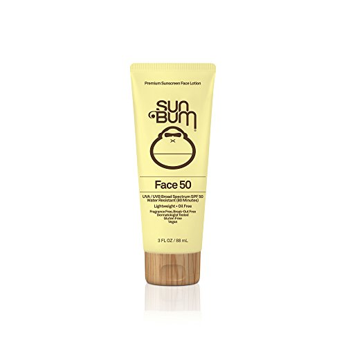 Sun Bum SPF 50 Face Lotion, 3 oz Bottle, 1 Count, Broad Spectrum UVA/UVB Protection, Oil Free, Gluten Free, Vegan