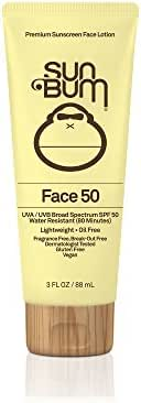 Sun Bum Face Lotion SPF 50 |Oil Free and Dermatologist Tested for Sensitive Skin | Reef Friendly Broad Spectrum UVA / UVB Protection | Water Resistant | Gluten Free, Vegan | 3 OZ Bottle