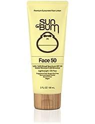 Sun Bum SPF 50 Face Lotion, 3 oz Bottle, 1 Count, Broad Spectrum UVA/UVB Protection, Oil Free, Gluten Free, Vegan