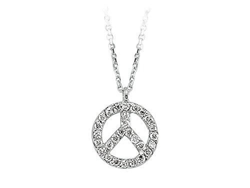 Pendentif Paix Et Amour Diamant-Femme- or Blanc 204P0079