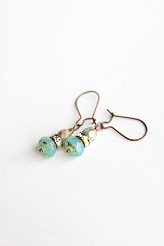 Light blue rustic Picasso Czech earrings - Robbins egg pastel - copper jewelry - rhinestone casual drop
