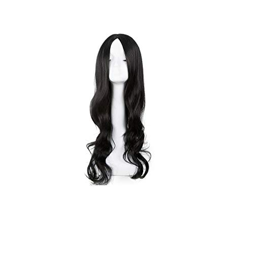 Wig Synthetic Long Curly Middle Part Line Blonde Women Hair Costume Carnival Halloween Party Salon Hairpiece,Natural Black,26inches]()
