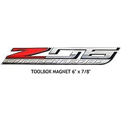 "C7 Corvette ZO6 Super Charged Metal Magnet Emblem Art Size: 6"" x 7/8"" Tool Box Z06 LT4 15 and Newer"