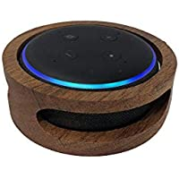 Little Stream Hand Made Solid Mahogany Hard Wood - 3rd Generation Amazon Echo Dot - Alexa, Holder and Cover with 3 Large Speaker Ports for 100% Crystal Clear Sound, Voice Recognition, and Protection