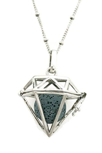 Radiant Large Diamond Lava Stone Essential Oil Diffuser Necklace- 30