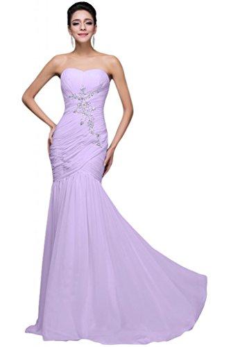 sunvary gasa Rhinestone Back Lace Up plisada volantes dama de honor vestidos de lila