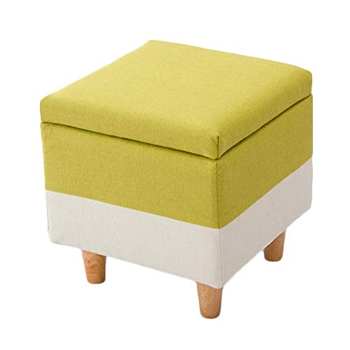 Tingting-Step stools, Storage Sofa Stool Footstool Hall Shoe Bench Household Willow Cotton and Linen 4 Colors 40x40x42cm (Color : Yellow, Size : 404042cm)