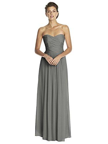 (Dessy Women's Full Length Strapless Lux Chiffon Dress w/Sweetheart Neckline by, Charcoal Gray Size 4)