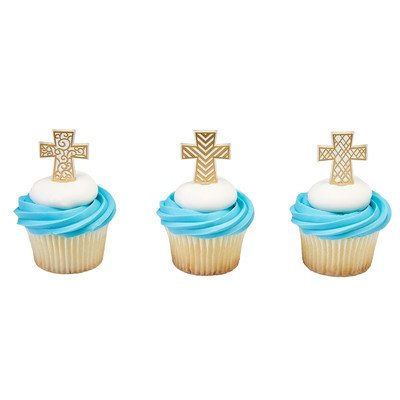 Gold Cross Cupcake Picks - 24 pcs -