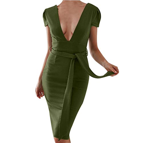 (QueenMM Sexy Bodycon, Women's Short Sleeve Deep V-Neck Solid Slim Midi Dress with Strap Formal Party Cocktail Dress Green)