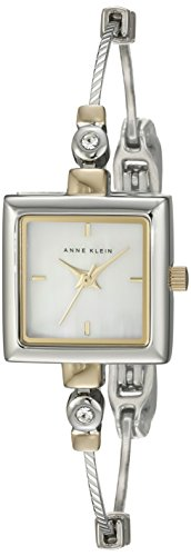 "Anne Klein Women's 109117MPTT Square Swarovski Crystal Accented Two-Tone ""Illusion"" Bangle Watch"