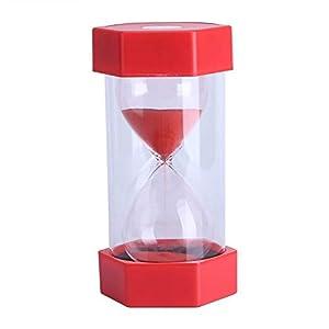 Cristal de Arena de Vidrio Reloj de Arena 3/10/20/30/60 Minutos Temporizador Reloj Decoración de la Oficina en Casa Regalo(30 Minutos Rojo) 1