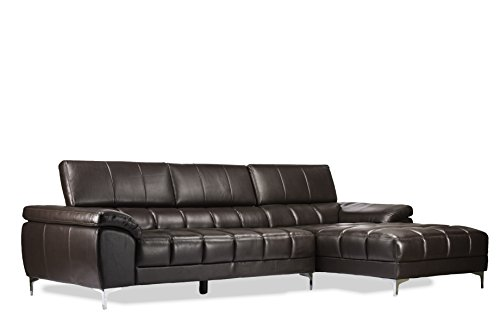 Baxton Studio Sosegado Leather Sectional Sofa with Right Facing Chaise, Brown