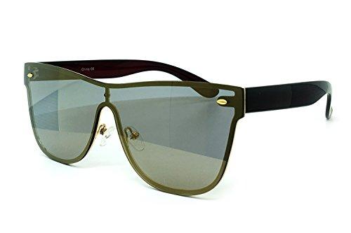 O2 Eyewear 7155-1 Premium Oversize Rimless Shield Flat Matte Finish Mirror Sunglasses (BRONZE, 54)