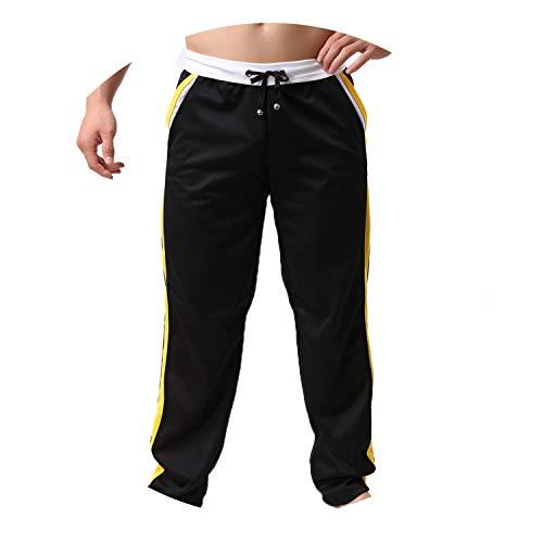 (Men's Pants Sweatpants Trousers Full Length Bottoms Long Elastic Men,Black,L)