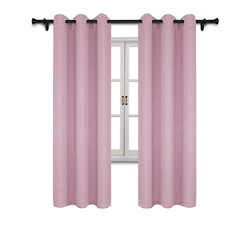 (SUO AI TEXTILE Blackout Grommet Curtain Panel Thermal Insulated Curtains for Girls' Room 42x84 Inch Baby Pink Set of 2)