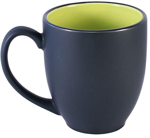 Green 14 Oz Mug - ITI Ceramic Bistro Hilo Coffee Mugs with Pan Scraper, 14 Ounce (4-Pack, Green)