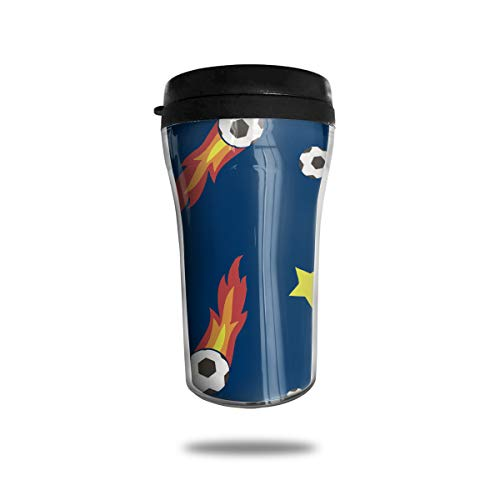 Double Wall Insulated Travel Mug With Lid, Flaming Soccer Ball Insulated Tumbler For Coffee, Ice Drink & Hot Beverage, 8 OZ, Leak-proof for $<!--$15.99-->