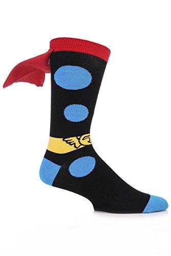 Thor Mens Socks (SockShop Men's 1 Pair Marvel Thor Cape Cotton Socks 7-12 Multicolored)