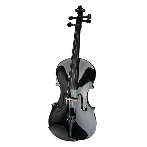 B&T 4/4 Handmade Student Acoustic Violin Beginner Professional Acoustic Basswood Viola Case Bow Rosin Black/Brown Gift Collection (15'', Black)