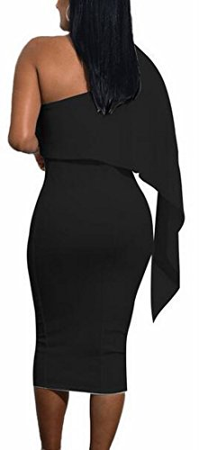One Dress Ruffle Womens Jaycargogo Midi Party Bodycon Shoulder 4 Sexy EwOfqU