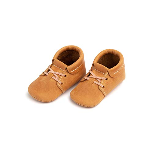 Freshly Picked - Soft Sole Leather Oxford Moccasins - Baby Girl Boy Shoes Size 3 Cedar Tan (Freshly Picked)