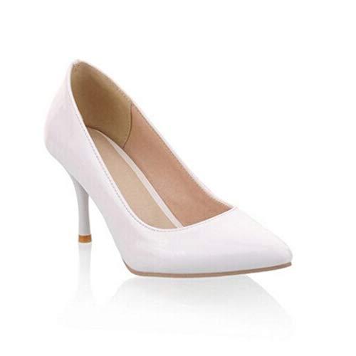 49a7fff5a9f473 Femme Classiques Chaussures Cour De Blanc Femmes Confort Talons Bal Mariage  Escarpins Chaussure Minces OqwxZvH