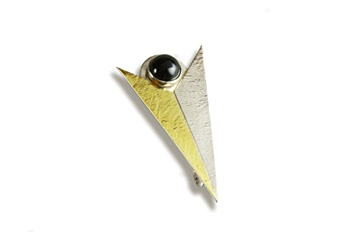 Art Deco Inspired Chevron Pin with Black Onyx