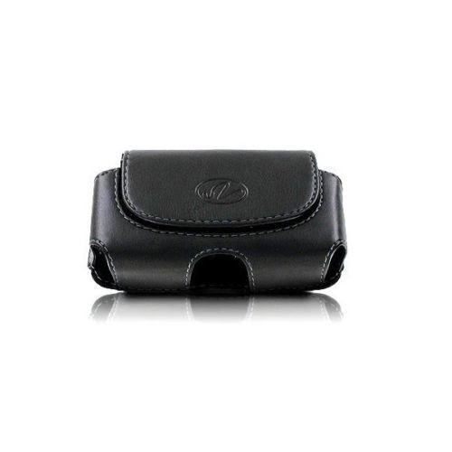 Wonderfly Holster for Flip Phone or Smartphone Up to 4.25x2.25x0.85 Inch in Dimensions, a Horizontal Leather Carrying Case with Belt Clip and Belt Loops