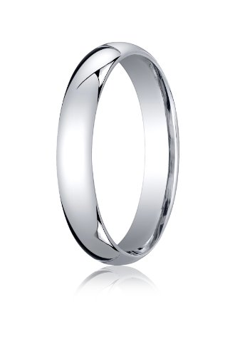 Womens 10K White Gold, 4mm Slightly Domed Standard Comfort-Fit Ring (sz 7.5) ()