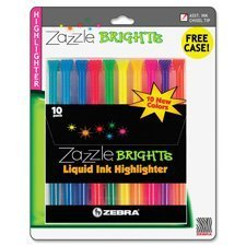 Liquid Highlighters, Chisel Point, 10/ST, Assorted Qty:6 by Zebra Pen by Zebra Pen (Image #1)