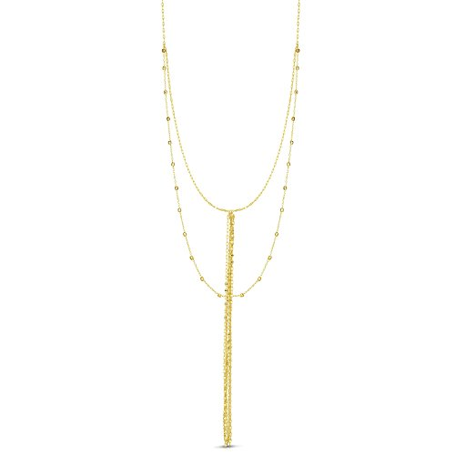 - 14k Yellow Gold Double Layer Diamond Cut Beads Tassel Lariat Necklace, Adjustable 16-18 Inches