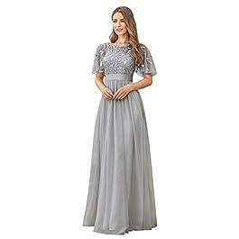 Ever-Pretty Women's Elegant Round Neck Short Flutter Sleeve Empire Waist A Line Tulle Long Evening Dresses 00904