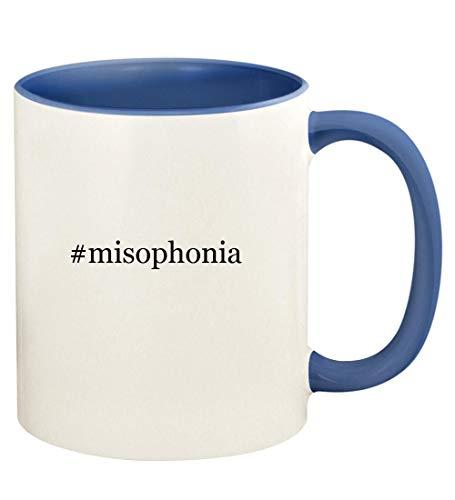 #misophonia - 11oz Hashtag Ceramic Colored Handle and Inside Coffee Mug Cup, Cambridge Blue