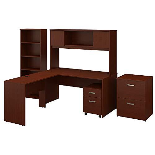 Bush Furniture Commerce 60W L Shaped Desk with Hutch, File Cabinets and Bookcase in Autumn Cherry ()