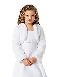 Girls Communion Flower Girl Faux Fur Jacket Bolero CJ14
