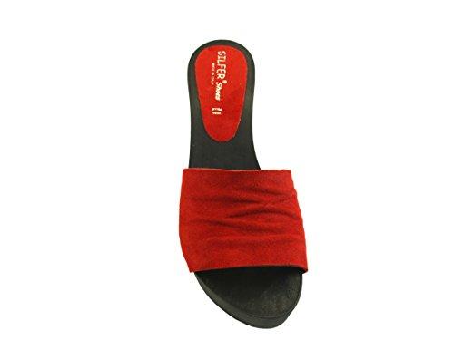 camoscio Made nero e di Zoccolo Italy e in Rosso Pelle Pelle in Silfer Vero Legno Shoes qHX1wZ18P